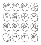 Psychology line vector icons set Royalty Free Stock Photo