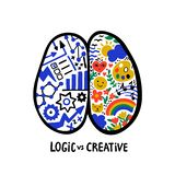 Psychology. Logic vs creative. Left right human brain concept. Hand drawn Creative and logic part with social and. Business doodle. Doodle style flat vector stock illustration