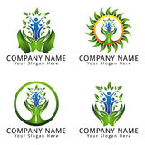 Psychology Logo Natural Concept with People and Leaf Royalty Free Stock Photo