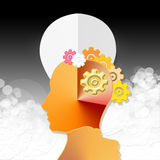 Psychology mechanism. Head with light bulb and gears  setting Royalty Free Stock Image