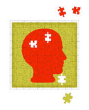 Psychology metaphor - mental health disorder, psychiatry etc. Mental health jigsaw puzzle, white background stock illustration