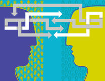 Psychology and people. Vector illustration of two head Royalty Free Stock Photo