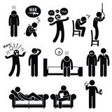 Psychology Psychiatric Mental Disorder Problem Illness Treatment. A set of pictograms about human psychology problem, mental disorder, and mental illness. This royalty free illustration