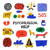 Psychology. Psychological help. Set of hand drawn icons on theme of psychology. Psychology, brain and mental health. Vector icons or logos set.Doodle style flat vector illustration