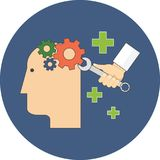 Psychology, psychotherapy, mental healing concept. Flat design. Icon in blue circle on white background Stock Photography