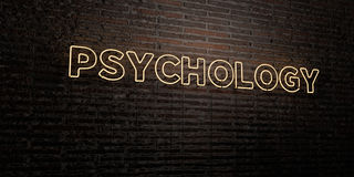 PSYCHOLOGY -Realistic Neon Sign on Brick Wall background - 3D rendered royalty free stock image. Can be used for online banner ads and direct mailers Royalty Free Illustration