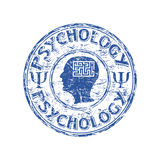 Psychology rubber stamp. Blue grunge rubber stamp with human head profile, labyrinth and the word psychology written inside the stamp Stock Photo