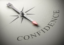 Psychology, Self Confidence Coaching. Needle of a compass pointing the word confidence, 3D render, concept image for self-confidence Royalty Free Stock Images