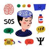 Psychology. Set of hand drawn icons on theme of psychology. Psychology, brain and mental health vector icons set. Doodle. Style flat vector illustration royalty free illustration