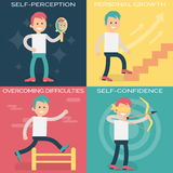 Psychology terms illustrations for achieving success Stock Images