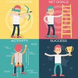 Psychology terms illustrations for achieving success Royalty Free Stock Images