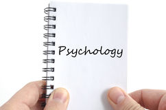 Psychology text concept. Isolated over white background stock photo