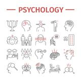 Psychology line icons set. Mental health. Infographic. Vector signs for web graphics. Psychology vector icons set. Infographic. Vector signs for web graphics stock illustration