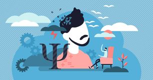 Psychology vector illustration. Flat tiny mental therapy persons concept. Medical social study to help depression, stress or fear. Communication to find stock illustration