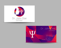 Psychology vector visit card. Modern logo. Creative style. Design concept.. Brand company. Violet color isolated on gray background. Symbol for web, print Stock Photography