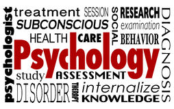 Psychology Word Collage Treatment Therapy Mental Illness Disorde. Psychology word in a collage of related terms like treatment, study, health care, therapy Stock Photo