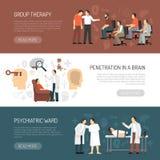 Psycholoog Horizontal Banners stock illustratie
