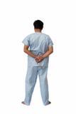 Psychomoordenaarsconcept: Psychiatrisch geduldig HOL van de intern verpleegde patiëntreeks Stock Fotografie