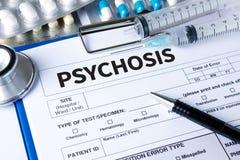 PSYCHOSE en Achtergrond van Geneesmiddelensamenstelling, Stethoscoop royalty-vrije stock fotografie
