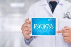 PSYCHOSE en Achtergrond van Geneesmiddelensamenstelling, Stethoscoop stock fotografie