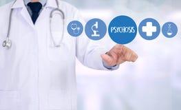 PSYCHOSE en Achtergrond van Geneesmiddelensamenstelling, Stethoscoop stock foto