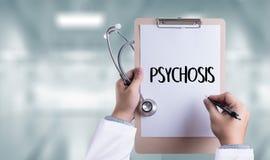 PSYCHOSE en Achtergrond van Geneesmiddelensamenstelling, Stethoscoop royalty-vrije stock afbeeldingen