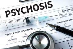 PSYCHOSE en Achtergrond van Geneesmiddelensamenstelling, Stethoscoop royalty-vrije stock foto