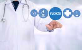 PSYCHOSIS and Background of Medicaments Composition, Stethoscope Stock Photo