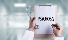 PSYCHOSIS and Background of Medicaments Composition, Stethoscope Royalty Free Stock Images