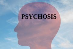 PSYCHOSIS - mental concept. Render illustration of PSYCHOSIS title on head silhouette, with cloudy sky as a background Royalty Free Stock Photo