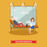 Psychotherapist and patient vector illustration in flat style. Vector illustration of doctor female sitting next to lying on couch male. Psychologist or Royalty Free Stock Photo