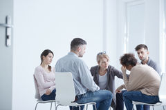 Psychotherapy for anxiety disorder. Young people during psychotherapy for anxiety disorder stock photography