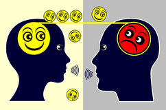Psychotherapy. Concept sign of a psychotherapist treating a patient by talking with him Stock Image