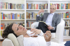 Psychotherapy: Psychologist and patient stock photography