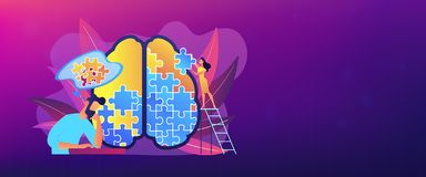 Psychotherapy and psychology header banner. stock illustration