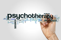 Psychotherapy word cloud concept. Psychotherapy word cloud on grey background royalty free stock photography