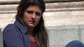 Psychotic And Fearful Woman. A young and pretty hispanic woman stock video