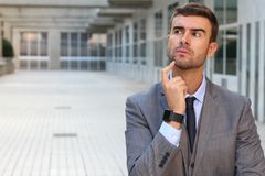 Psychotic man deep in thoughts Royalty Free Stock Photo