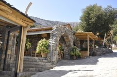 Psychro, august 29th: Cave of Zeus Way Taverns in Crete island of Greece. Taverns on the Way of Cave of Zeus in Crete island of Greece on August 2017 royalty free stock images