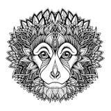Psykedelisk apahuvudtatuering Zentangle stil royaltyfri illustrationer