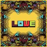 Psykedelisk ram i stilpopkonst Abstrakt kort, inbjudan, räkning i hippy stil för tappning Mångfärgad retro prydnad, syra royaltyfri illustrationer