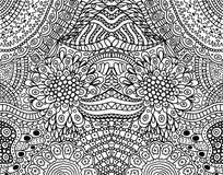Psykedelisk stam- skraj symmetrisk bakgrund Färga sidan för vuxna människor också vektor för coreldrawillustration royaltyfri illustrationer