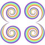 Psykedelisk virvelmodell för regnbåge låter vara dekorativ elementgreen för bakgrund lianaen över vektorwhite royaltyfri illustrationer