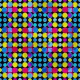 Psykedeliska cirklar på en svart bakgrund Grungeeffekt också vektor för coreldrawillustration Royaltyfri Foto