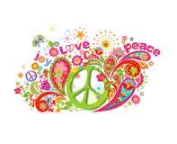 Psykedeliskt färgrikt tryck med hippiefredsymbol, flower power, förälskelse, fred- och glädjeord, fjäril och paisley stock illustrationer