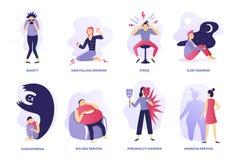 Psykiska st?rningar Psykisk sjukdom, folkpsykoterapi och psykiatriska problem Illustration för mentalitetoordningvektor royaltyfri illustrationer