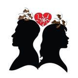 Psykologi av förbindelse man silhouettekvinnan Royaltyfria Bilder