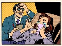 Psykologkvinnan river skratt Fotografering för Bildbyråer
