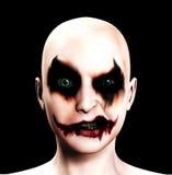 psykotisk ond kvinnlig för clown Fotografering för Bildbyråer