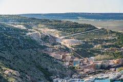Psylerakhskoye limestone deposit. Near the city of Balaklava. Crimea, Ukraine. May, 2009 Royalty Free Stock Image